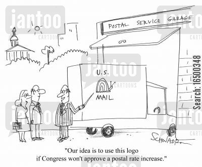 snail mail cartoon humor: Our idea is to use this logo if congress won't approve a postal rate increase