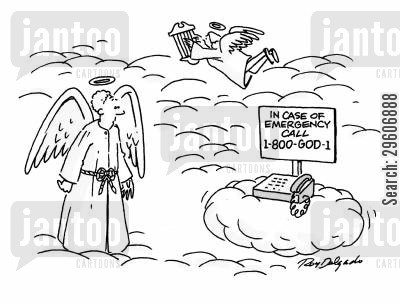 emergency call cartoon humor: In case of emergency call 1-800-GOD-1.