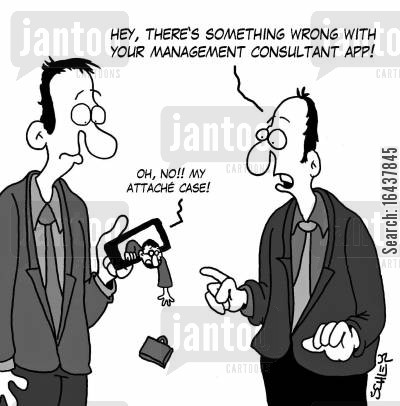 briefcases cartoon humor: 'Hey, there's something wrong with your management consultant app!'