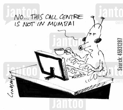 indian call center cartoon humor: No, this call centre is not in Mumbai...