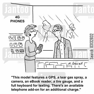 tear gas cartoon humor: 'This model features a GPS, a tear gas spray, a camera, an eBook reader, a tire gauge, and a full keyboard for texting. There's an available telephone add-on for an additional charge.'