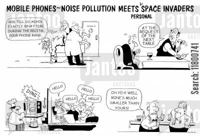 irritations cartoon humor: Mobile Phones - Noise Pollution Meets Personal Space Invaders