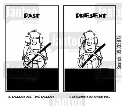 mobile phone ban cartoon humor: Driving Habits - Past and Present.