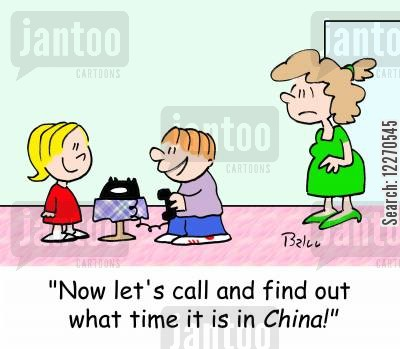 telephone bills cartoon humor: 'Now let's call and see what time it is in CHINA!'