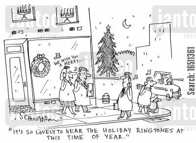 holiday ringtone cartoon humor: 'It's so lovely to hear the holiday ringtones at this time of year.'