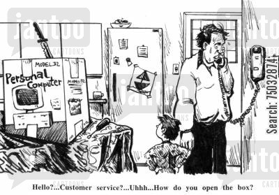 helplines cartoon humor: 'Hello?...Customer service?...Uhhh...How do you open the box?'