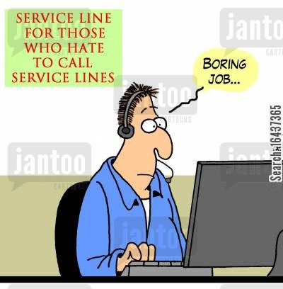 service line cartoon humor: 'Boring job,,,'