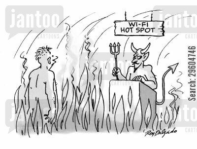 telecommunication cartoon humor: Wi-fi hot spot.