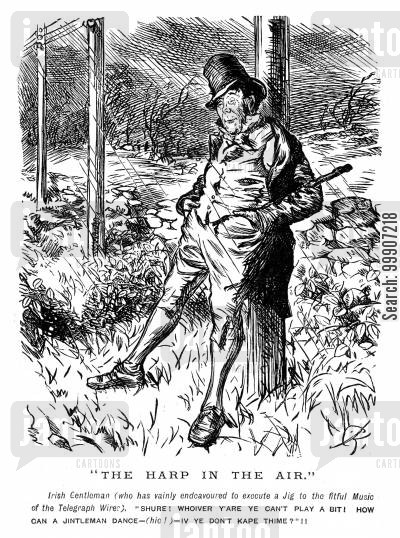 telegraphs cartoon humor: An Irish man dancing to the tune produced by telegraph wires