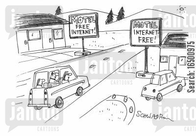 free internet service cartoon humor: Internet Free Motel