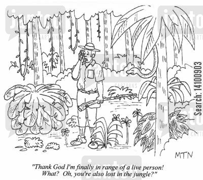 jungles cartoon humor: ...Oh, you're also lost in the jungle?