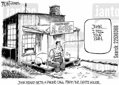 re-elected cartoon humor: John Kerry gets a phone call from the Spite House.