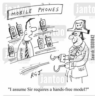 pirate hooks cartoon humor: 'I assume Sir requires a hands-free model?'