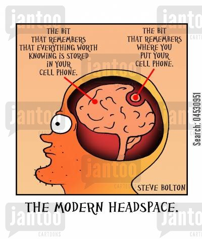 info cartoon humor: The Modern Headspace.