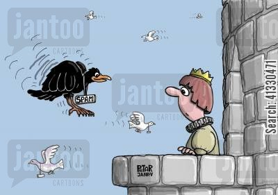 homing pigeons cartoon humor: Mail pigeons, spam raven.