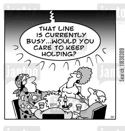 tarot cartoon humor: Seance: That line is currently busy...would you care to keep holding?