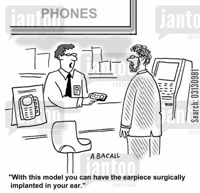 new phone cartoon humor: With this model you can have the earpiece surgically implanted in your ear.