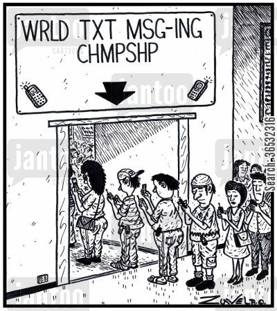 text messaging cartoon humor: WRLD TXT MSG-ING CHMPSHIP.