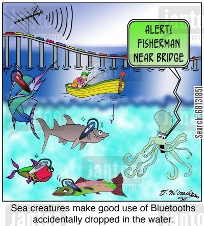 communication device cartoon humor: Sea creatures make good use of Bluetooths accidentally dropped in the water.