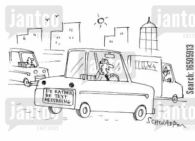 hands-free kit cartoon humor: 'I'd rather be text messaging.'