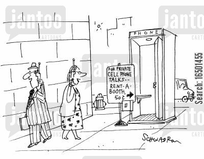 money-making schemes cartoon humor: For private cell phone talks, rent-a-booth...