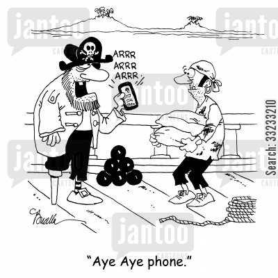 aye aye cartoon humor: 'Aye Aye phone.'