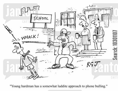 luddite cartoon humor: Young Hardman has a somewhat luddite approach to phone bullying.
