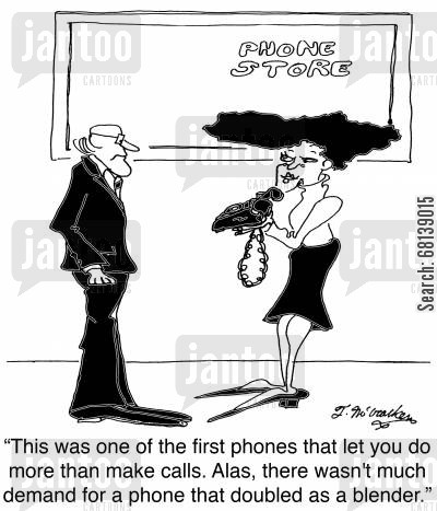 phone technology cartoon humor: 'This was one of the first phones that let you do more than make calls. Alas, there wasn't much demand for a phone that doubled as a blender.'