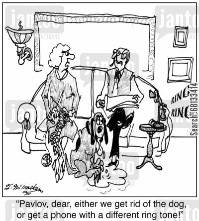 drools cartoon humor: 'Pavlov, dear, either we get rid of the dog, or get a phone with a different ring tone!'