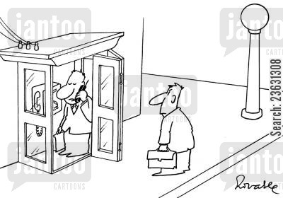 telephone booths cartoon humor: Man in a phone booth using a mobile phone.