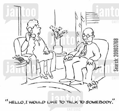 old couple cartoon humor: 'Hello, I would like to talk to somebody.'