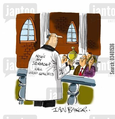 church sermons cartoon humor: How's my sermon. . .