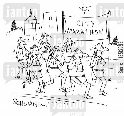 marathon runner cartoon humor: City Marathon.