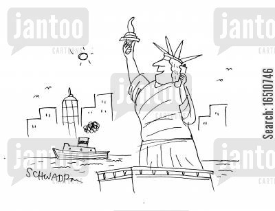 mobile phone addict cartoon humor: Statue of Liberty holding cell phone.