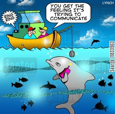 sea world cartoon humor: 'You get the feeling its trying to communicate.'