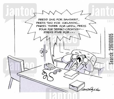 cries cartoon humor: 'Press one for sanskrit...'