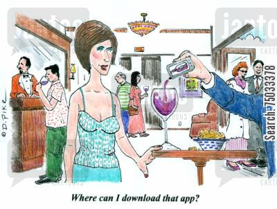 smartphone cartoon humor: 'Where can I download that app?'