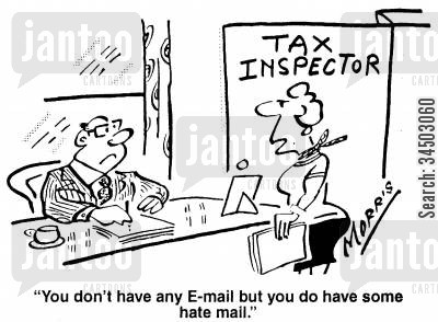 e-mailing cartoon humor: You don't have any e-mail but you do have some hate mail.