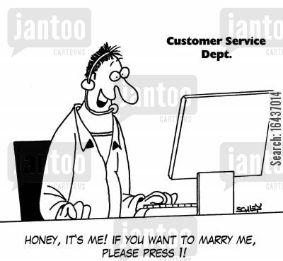 personal cartoon humor: 'Honey, it's me! If you want to marry me, please press 1!'