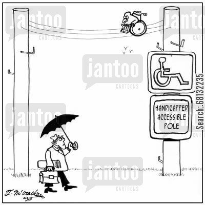 telephone wire cartoon humor: Handicapped Accessible Pole.