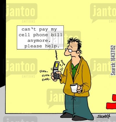 phone bill cartoon humor: Text message: 'Can't pay my cell phone bill anymore. Please help.'