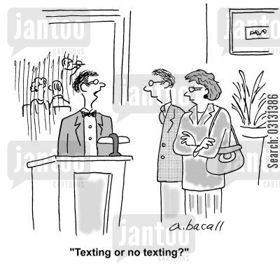 smoking section cartoon humor: Texting or no texting?