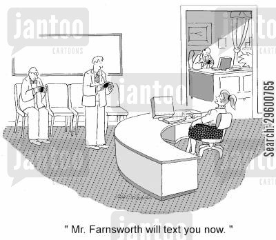 text messaging cartoon humor: 'Mr. Farnsworth will text you now.'