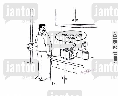 letter box cartoon humor: 'You've got mail.'