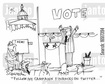 campaigned cartoon humor: 'Follow my campaign finances on Twitter...'
