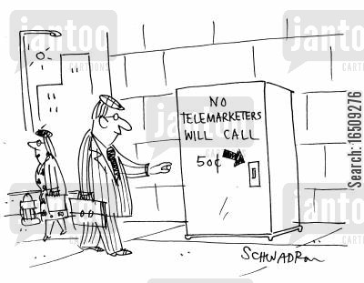 nuisance phone calls cartoon humor: Vending machine says: 'No telemarketers will call' 50c.