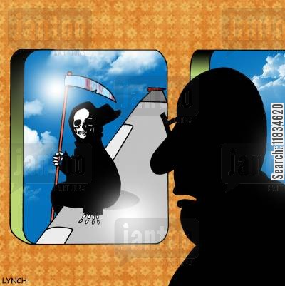 impending doom cartoon humor: Man on Plane looks out the window and sees the Grim Reaper.