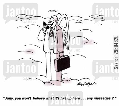 caller cartoon humor: 'Amy, you won't believe what it's like up here... any messages?'