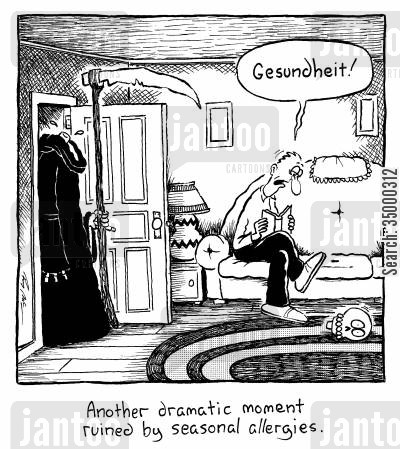 allergy cartoon humor: Another dramatic moment ruined by seasonal allergies.