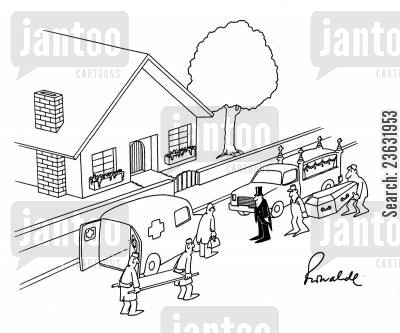 too late cartoon humor: Meeting of ambulance and hearse.